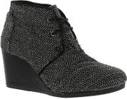 Toms , New  Desert Wedge Womens Black Wedge Ankle Boots Shoes Size Uk 4 8
