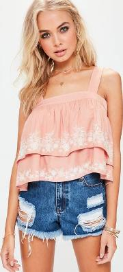 Missguided , Pink Double Layered Embroidered Cami Top