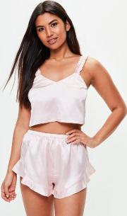 Missguided , Pink Ruffle Cami Set