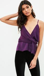 Missguided , Purple Twist Front Cami Top