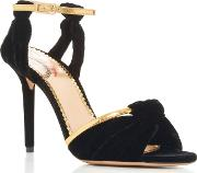 Charlotte Olympia , Broadway Leather Trimmed Velvet Sandals