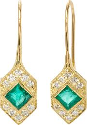Ila , Devon Emerald And Diamond Earrings