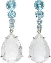 Bounkit , Clear And Blue Quartz Two-way Earrings