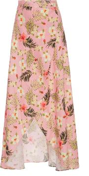 Miguelina , Hibiscus Printed Asymmetric Wrap Skirt