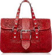 Red Valentino , Red Valentino Embossed Lizard Top Handle