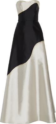 Reem Acra , Strapless Color Block Gown