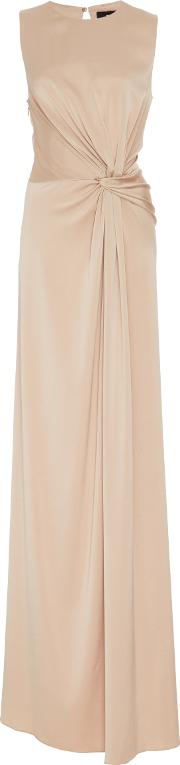 Paule Ka , Crepe Backed Satin Knot Gown