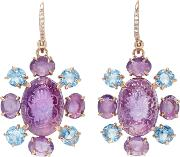 Bounkit , Carved Amethyst And Blue Quartz Earrings