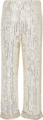 Ganni , Embellished Georgette Wide Leg Pants