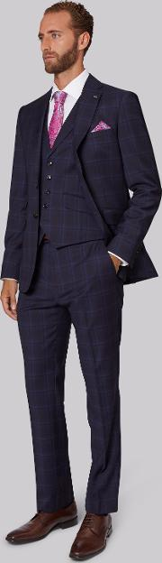 Ted Baker , Tailored Fit Navy & Blue Check Suit