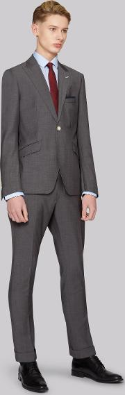 Moss Bros , Skinny Fit Grey Twill Suit