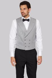 Moss Covent Garden , Moss Bros Covent Garden Tailored Dove Grey Fit Double Breasted Waistcoat