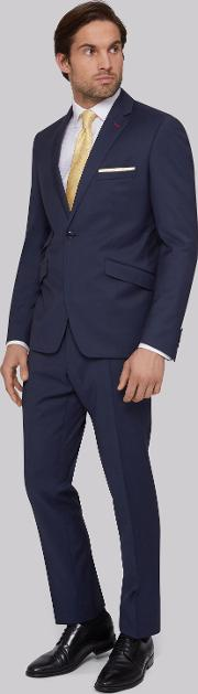 Moss Bros , Skinny Fit Blue Twill Suit