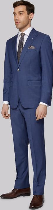 Moss Bros , Tailored Fit Chambray Blue Suit