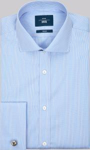 Moss 1851 , Slim Fit Sky And Pink Double Cuff Stripe Shirt