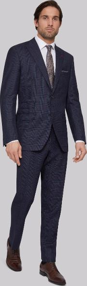 Moss Bros , Regular Fit Blue Red Check Suit