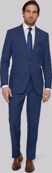 Moss Bros , Tailored Fit Bright Blue Suit