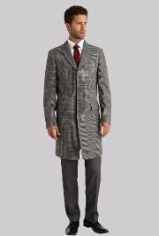 Moss 1851 , Tailored Fit Grey Overcheck Overcoat