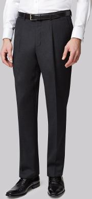 Moss Bros , Regular Fit Charcoal Plain Pleated Trousers