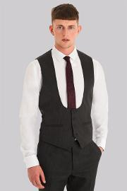 Moss London , Slim Fit Charcoal Waistcoat