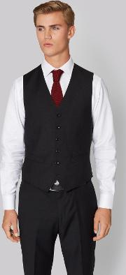 Hardy Amies , Tailored Fit Black Clear Cut Waistcoat