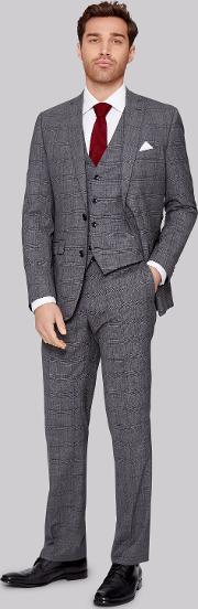 Moss 1851 , Italian Tailored Fit Grey Prince Of Wales Check Jacket