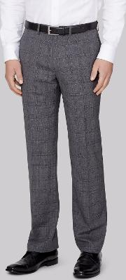 Moss 1851 , Italian Tailored Fit Grey Prince Of Wales Checktrousers