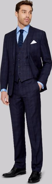 Moss 1851 , Italian Tailored Fit Ink Check Jacket