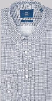 Moss 1851 , Slim Fit Navy Single Cuff Printed Shirt