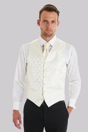 Moss 1851 , Tailored Fit Cream Floral Waistcoat With Matching Cravat