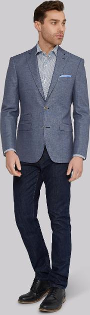 Moss 1851 , Tailored Fit Mid Blue Linen Cotton Jacket