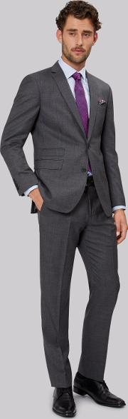 Moss 1851 , Tailored Fit Mid Grey Sharkskin Suit