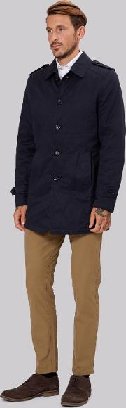 Moss 1851 , Tailored Fit Navy Cotton Jacket