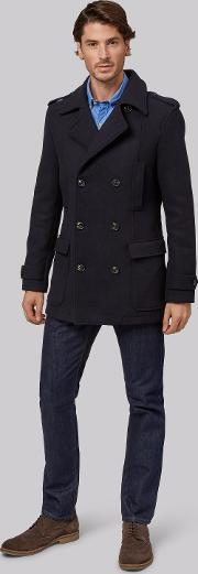 Moss 1851 , Tailored Fit Navy Double Breasted Pea Coat