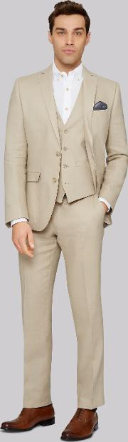 Moss 1851 , Tailored Fit Stone Linen Jacket