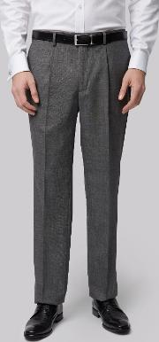 Moss Bros , Regular Fit Charcoal Pleated Trousers