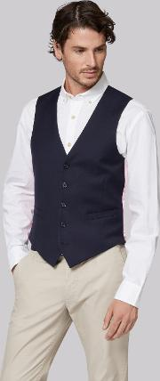 Moss Bros , Tailored Fit Navy Waistcoat
