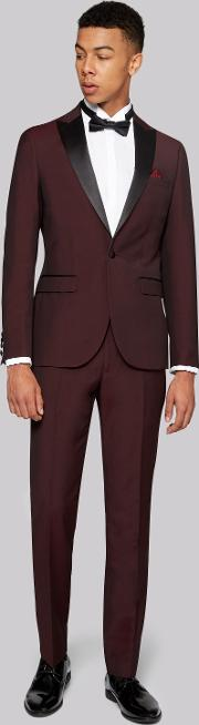Moss London , Skinny Fit Claret Tuxedo Jacket