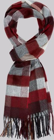 Moss 1851 , Red Mini Battenburg Check Scarf