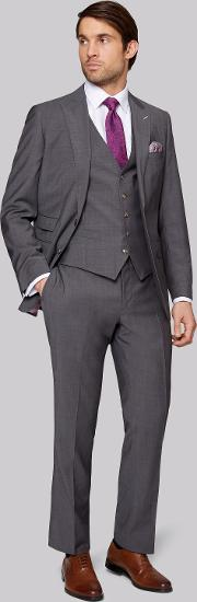 Moss Bros , Tailored Fit Grey Twill Suit