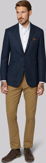 Moss 1851 , Tailored Fit Navy Soft Plain Jacket