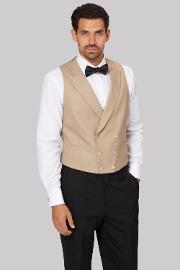 Moss Covent Garden , Moss Bros Covent Garden Tailored Fit Beige Double Breasted Waistcoat