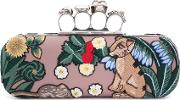 Alexander Mcqueen , Embroidered Leather Knuckle Clutch