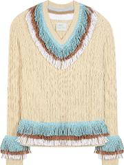 Hillier Bartley , Embellished Cashmere And Cotton Sweater