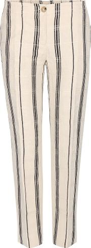 Tory Burch , Carrie Silk And Linen-blend Trousers