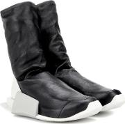Adidas By Rick Owens , Level High Leather Sneakers