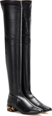 Francesco Russo , Calf Hair Trimmed Leather Over The Knee Boots