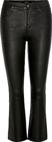 J Brand , Selena Mid Rise Cropped Leather Trousers