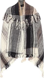 M Patmos , Check Fringed Wool Cape