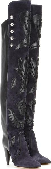 Isabel Marant , Becky Embellished Suede And Leather Over The Knee Boots